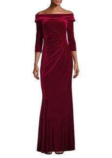 Teri Jon Velvet Off-The-Shoulder Gown