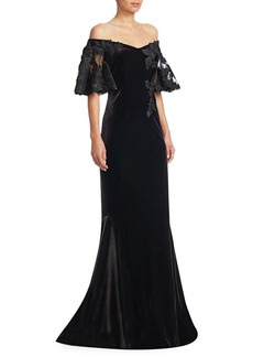 Teri Jon Velvet Off-The-Shoulder Lace Sleeve Gown