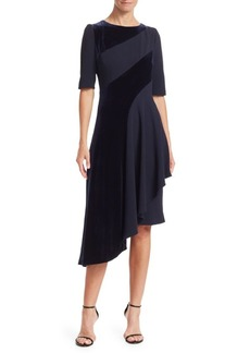Teri Jon Velvet Stripe Asymmetrical Dress