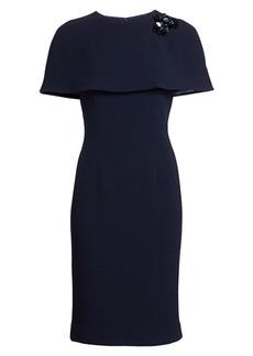 Teri Jon Wool Cape Cocktail Dress
