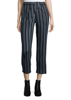 Thakoon Cross-Front Striped Ankle Pants
