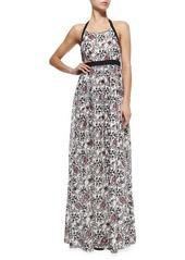 Thakoon Addition Halter-Neck Maxi Dress W/ Scroll Print