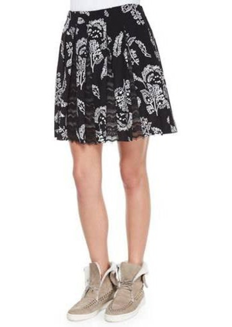Thakoon Addition Lace-Inset Pleated Skirt
