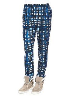 Thakoon Addition Plaid Straight-Leg Silk-Blend Pants