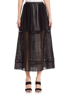 Thakoon Crochet-Inset Leather Maxi Skirt