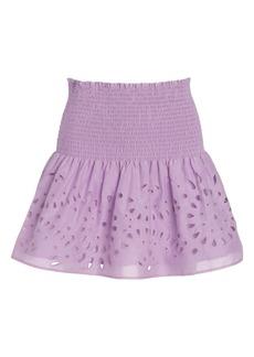 Thakoon Eyelet Smocked Waist Miniskirt