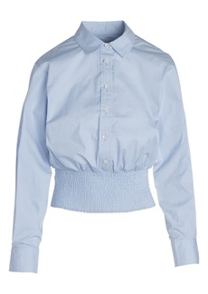 Thakoon Smocked Hem Button-Up Shirt