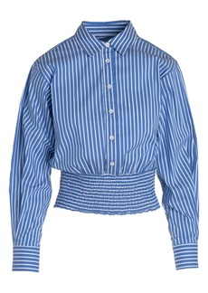 Thakoon Stripe Smocked Hem Button-Up Shirt