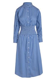Thakoon Stripe Smocked Waist Button-Up Long Sleeve Shirtdress