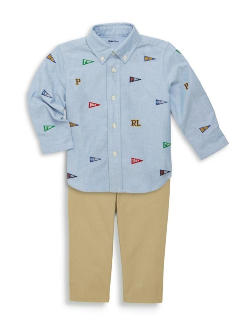 The Children's Place Ralph Lauren Baby Boy's Three-Piece Embroidered Oxford Shirt, Chino & Belt Set