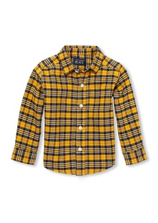 The Children's Place Baby Boys Long Sleeve Oxford Plaid Shirt