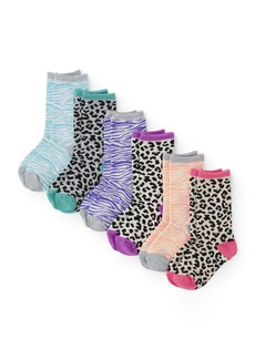 The Children's Place Big Boys' 6 Pack Leopard Crew Socks