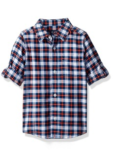 The Children's Place Big Boys' Gingham Double-Roll Shirt  L (10/12)
