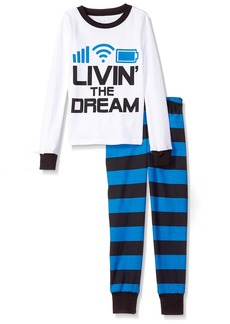 The Children's Place Big Boys' Living The Dream Themed Pajamas White 905