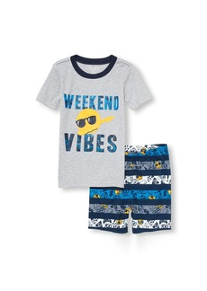 The Children's Place Big Boys' Top and Shorts Pajama Set