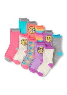 The Children's Place Big Girls' 10 Multipack Emoji Crew Socks Multi CLR
