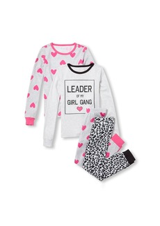 The Children's Place Big Girls' 4 Piece Printed Pajama Set