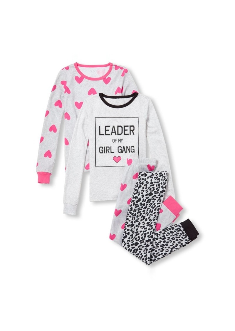 The Children's Place Big Girls' 4 Piece Printed Pajama Set
