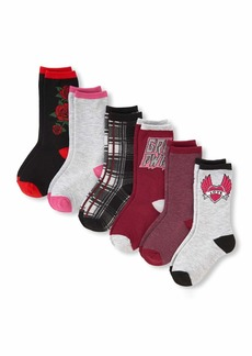 The Children's Place Big Girls' 6 Pack Crew Socks Multi CLR