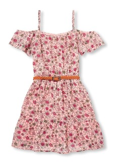 The Children's Place Big Girls' Belted Floral Dress