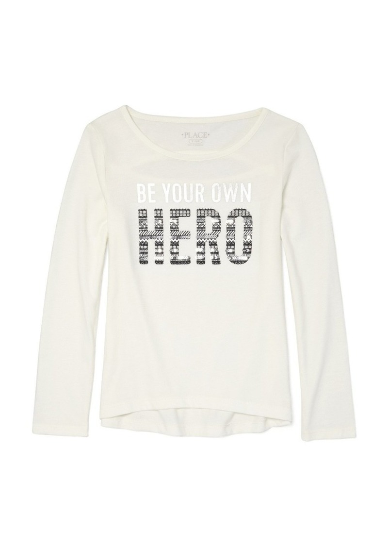 0cb07842ac2d11 The Children s Place Big Girls  Cold Shoulder Graphic Long Sleeve Top ...