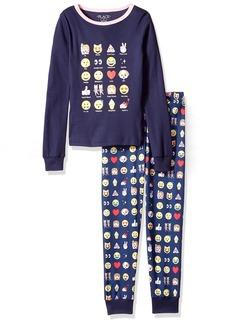 The Children's Place Big Girls' Emoji 2 Piece Sleepwear