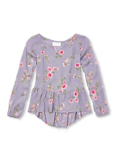The Children's Place Big Girls' Floral Woven Shirt with Peplum Bottom  S (5/6)