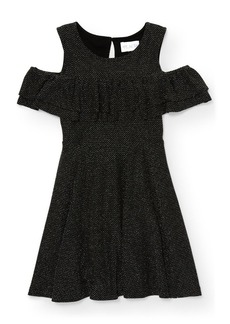 The Children's Place Big Girls' Glitter Cold Shoulder Dress