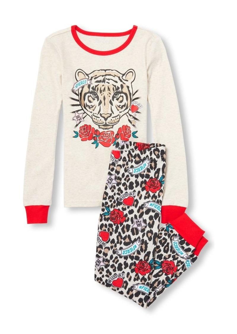 The Children's Place Big Girls' Long Sleeve Animal Pajama Set