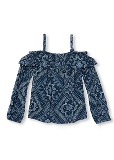 The Children's Place Big Girls' Long Sleeve Off The Shoulder Bandana Print Woven Shirt  M (7/8)