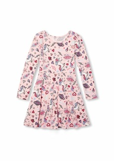 The Children's Place Big Girls Long Sleeve Pleated Dress  S (5/6)