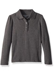 The Children's Place Big Girls' Long Sleeve Ruffle Polo Shirt  L (10/12)
