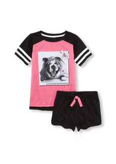 The Children's Place Big Girls' Top and Shorts Pajama Set  XS (4)