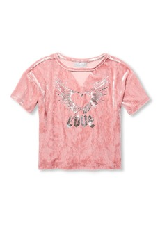 The Children's Place Big Girls' Velour Graphic Knit TOP  M (7/8)