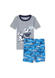 The Children's Place Boys' Big Top and Shorts Pajama Set fin Gray