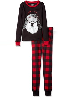 The Children's Place Boys' Christmas Long Sleeve Top and Pants Pajama Set Black 9051