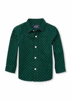 The Children's Place Boys' Toddler Long Sleeve Button Down BALT Green