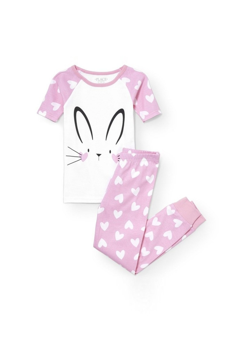 The Children's Place Girls' Big 2 Piece Sweet Bunny Short Sleeve Top and Pant Set
