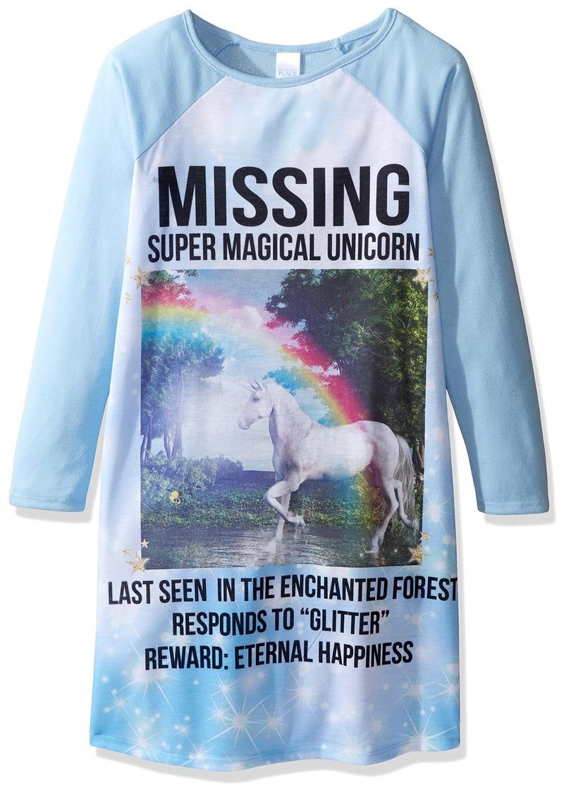 The Children's Place Girls' Big Girls' Unicorn T-Shirt Nightgown  M (7/8)