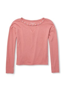 The Children's Place Girls' Big Long Sleeve Pearl Neck Knit