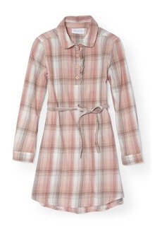 The Children's Place Girls' Big Long Sleeve Plaid Dress Cherry ice 86279