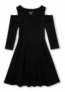 The Children's Place Girls' Big Long Sleeve Pleated Dress
