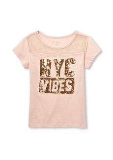 The Children's Place Girls' Big MESH Yoke Short Sleeve TOP