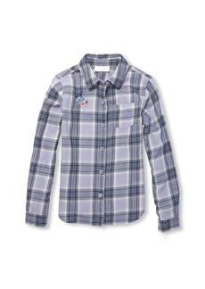 The Children's Place Girls' Big Novelty Long Sleeve Plaid Woven Shirt