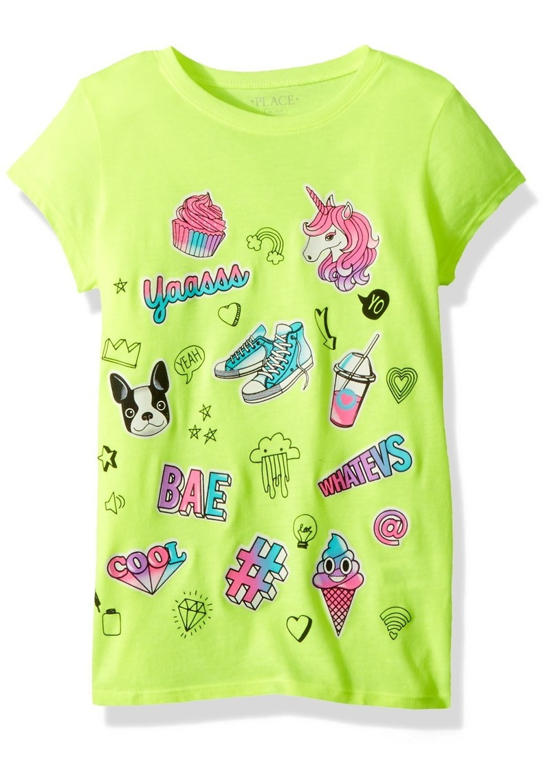6d40a3f51 The Children's Place Girls' Big Short Sleeve Graphic Tee Sample/dye  TWEAKYELLOW