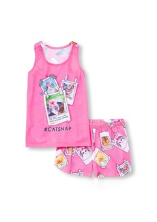 The Children's Place Girls' Big Top and Shorts Pajama Set neon Peony XS (4)