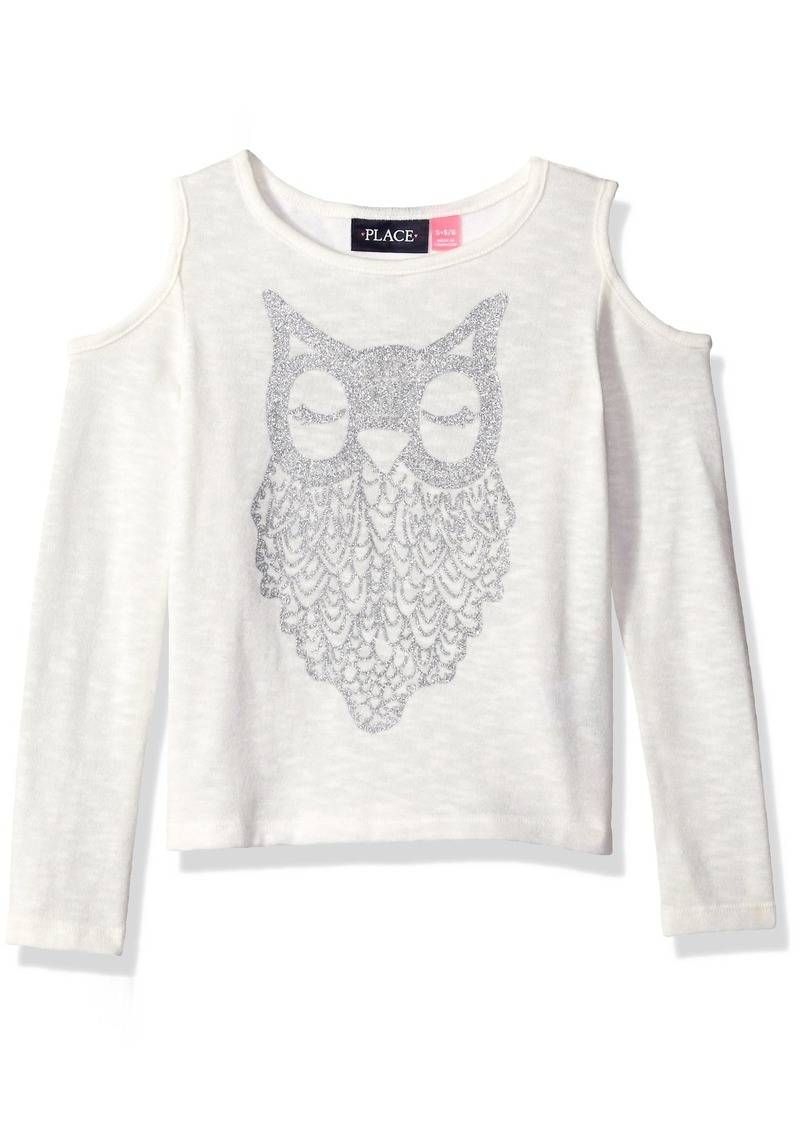 The Children's Place Girls' Little Sequin Cold Shoulder Long Sleeve Shirt