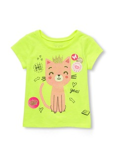 The Children's Place Girls' Toddler Cat Short Sleeve Graphic Tee Sample/dye Sunny Side up