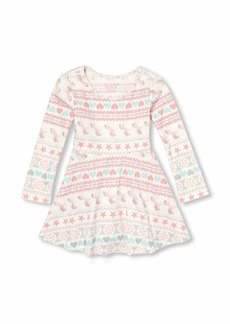 The Children's Place Girls' Toddler Long Sleeve Pleated Dress  12-18MOS