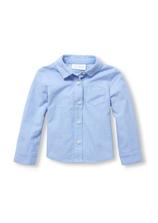 The Children's Place Girls Uniform Long Sleeve Solid Oxford Button-Down Shirt  12-18MOS